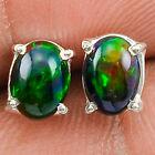 Natural AAA Chalama Black Opal Oval Stud 925 Sterling Silver Earrings Jewelry