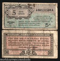 USA UNITED STATES 5 CENTS 1946 MPC SER.461 MILITARY PAYMENT CERTIFICATE NOTE