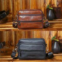 Men Genuine Cow Leather Small Pocket Zipper Shoulder Bag Crossbody Bag Travel