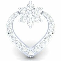 2ctw Round Brilliant Cut Diamond Ladies Cluster Heart Pendant 14Carat White Gold