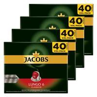 JACOBS Lungo 6 Classico Kaffeekapseln Nespresso Kompatibel Kaffee 160 Kapseln