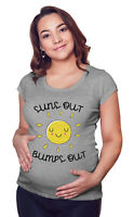 Womens MATERNITY T-Shirt Suns Out BUMPS Out - Fashion Pregnancy Summer Grey Top