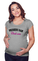 Womens MATERNITY T-Shirt - Preggers hair Dont Care Pregnancy Grey Top By BritTot