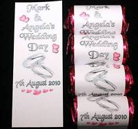 100 Personalised Love Heart CUT WRAPPERS Silver Rings