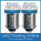 PAIR 12V 4-LED BLUE T10 BA9S AUTO/CAR GLOBES - Car/Automotive/Parker Lights