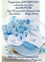 Baby Boy Birth Congratulations A5 Card Personalised Son Parents Grandparents NEW