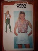 Simplicity 1980 Size 10 Shirt Shorts Pants 9552 New Uncut