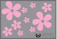 36 Baby Pink Daisy Flower Vinyl Stickers, Car, Wall