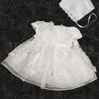 Infant Baby Girl Baptism Christening Bonnet Dress Gown Flower Occasion 0-12M 092