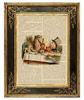 Alice in Wonderland Art Print on Antique Book Page Mad Tea Party Hatter Color