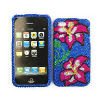 Flowers On Blue Crystal Phone Cover Protector For Apple iPhone 4 4S Hard Case