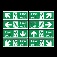 FIRE EXIT SELF ADHESIVE STICKER SIGN 300x100mm *CHEAPEST ON EBAY*