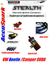 VW Camper/Beetle JFU4 Electronic Ignition, Plugs,8mm Blue leads,Red Rotor, Coil