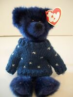 """Ty Attic Treasures~8""""~Orion~Navy Blue Bear~Sweater~7th Generation~W/Heart Tag~A"""