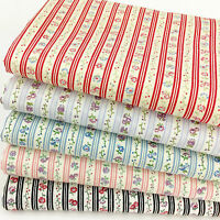 PER 1/2 M / FQ  floral stripe fabric  100% cotton poplin pink blue red & lilac