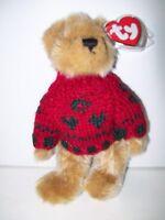 "Ty Attic Treasures~8""~Bearkhardt the Bear Wears Red Sweater~7th Generation~B"