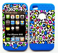 2 in 1 Hybrid Silicone Rubber Cover Case For Apple iPhone 4 4S Leopard On Blue