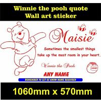 Personalised Winnie the Pooh wall quote boys / girls bedroom sticker wall art