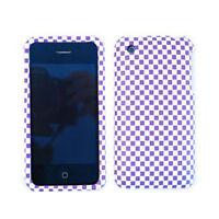 For Apple iPhone 3G 3GS Cover Purple And White Checker Hard Case Faceplate