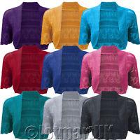 Ladies Bolero Shrug Crochet Knitted Cardigan Womens Top In Plus Size 16/18,20/22