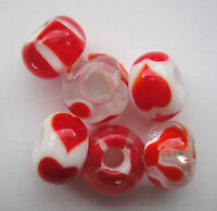 Childrens Red & White Hearts Glass Lampwork Beads. Gift bag. Little Rhona Sutton