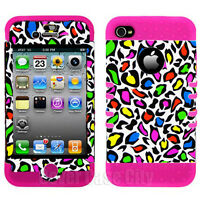 For Apple iPhone 4 4S Hybrid Cover 2 in 1 Colorful Leopard On Pink Silicone Case