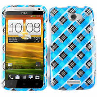 For HTC One X AT&T Phone Case Blue And Black Plaid Faceplate Protector Cover