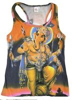 GANESHA GANESH Hindu Tattoo Goa DJane Psychodelic Designer TANK TOP SHIRT S/M