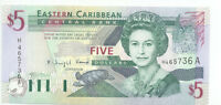 East Caribbean Central Bank no date (2003) 5 Dollars Pick 42A UNC