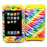 Rainbow Zebra Print Yellow Snap On Hybrid Case Cover Apple iPod Touch 4 4th Gen