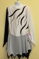 New Black & White Ice Figure Skating Dress D496 Size 12,14,16, S/ Buy1 Get1 Free