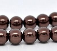 100 X COFFEE IMITATION GLASS PEARL BEADS. 8 MM 11406
