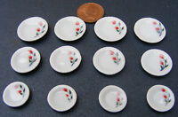 1:12 Scale 12 Piece Hand Painted Ceramic Plate Set Dolls House Miniature TS10
