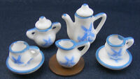 1:12 Scale Ceramic 7 Piece Blue & White Delph Dolls House Miniature Tea Set 149
