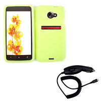 Car Charger + Green Silicone Snap On Case Phone Cover for Sprint HTC Evo 4G LTE