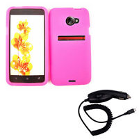 Pink Silicone Snap On Case Phone Cover + Car Charger for Sprint HTC Evo 4G LTE