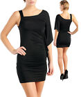 Ladies One Shoulder Body-con Club Party Black Dress Size 8 10 12 14 S M L NEW