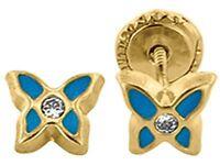 Children Butterfly Screw Back Stud Earrings in 14K Solid Yellow Gold (unplated)