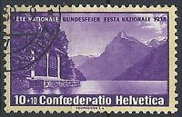1938 SVIZZERA USATO PRO PATRIA CARTA GROFFATA UNIFICATO 311a - SZ027
