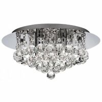 Hanna 4 Light Ceiling Light With Crystal Droplets Available in Gold OR Chrome
