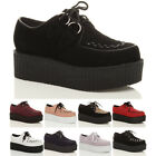 WOMENS LADIES FLAT DOUBLE PLATFORM WEDGE LACE UP GOTH CREEPERS SHOES BOOTS SIZE