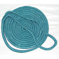 1/2 Inch x 15 Ft Teal Double Braid Nylon Mooring and Docking Line for Boats
