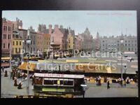 Old PC Nottingham Market Square, shows TRAM & Adverts EMPIRE, OGDENS Guinea Gold