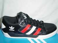 MEN'S ADIDAS HARD COURT LOW TRAINERS BLACK/WHITE/RED 703