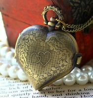 European Love-Heart Vintage Steampunk Snitch Pendant Pocket Watch Necklace