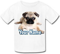 CHILDS PERSONALISED / NAMED PUG DOG / PUPPY KIDS T-SHIRT - GREAT GIFT ANY DESIGN