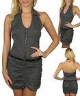 Ladies Girl Stripe Halter Short Dress w/Belt Size 8 10 12 14 S M L NEW 3COLORS