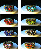 Vintage Gold Tone Butterfly Cuff Diamante Bangle Bracelet in 8 Colours - Choose