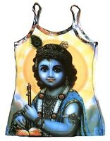 KRISHNA Hindu Gott Avatar Goa DJ Hippie Party Tattoo Art Designer TOP SHIRT S/M