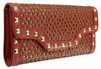 Ladies Red Glittery Envelope Leather Style Studded Clutch Bag Evening Bag